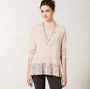 Anthro | Knitted & Knotted Pink Lace Hem Sweater